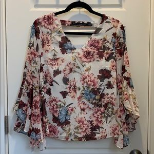 Floral Drape Back Blouse